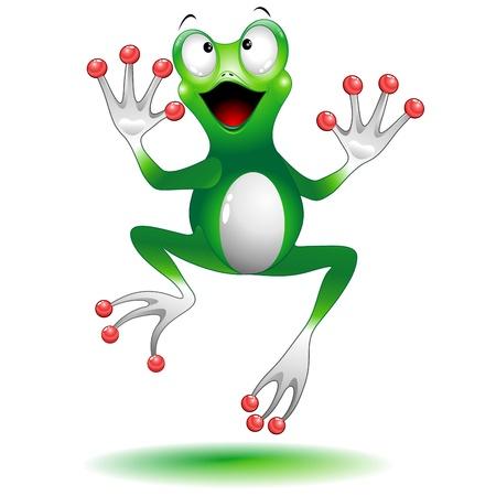 Gelukkige Springende Kikker stripfiguur Vector Illustratie