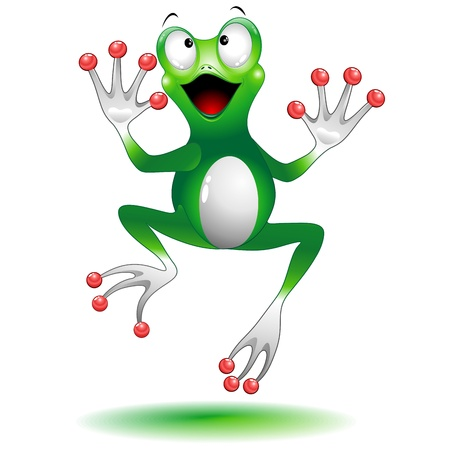 Happy Jumping Frog Cartoon Character