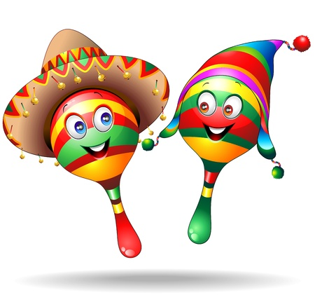 mexican folklore: Maracas Cartoon Characters with Sombrero and Llucho Illustration