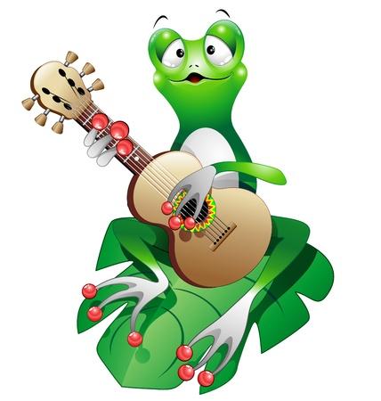 grenouille: Cartoon Frog chanteur jouant guitare