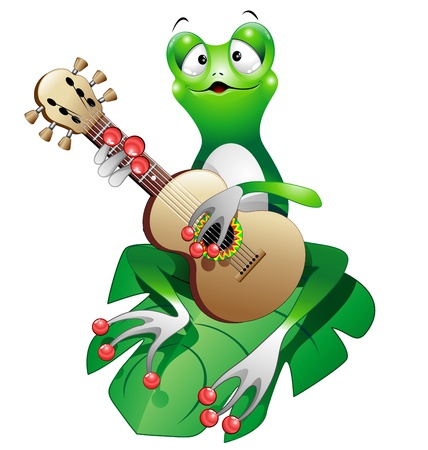 serenade: Singer Frog Cartoon playing Guitar Illustration