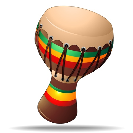rasta: Bongo Folk Percussion Instrument Illustration