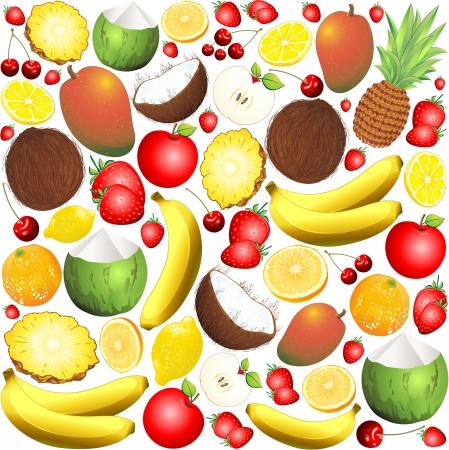 mango slice: Fresh Fruits Pattern Background