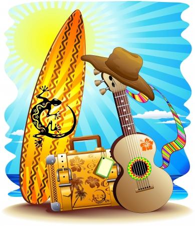 agencia de viajes: Maleta Surf and Fun Guitar Summer Holidays Vectores