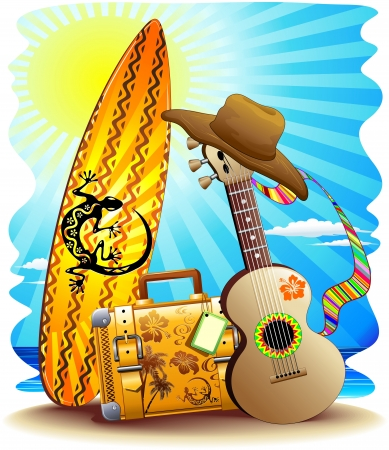 vacationer: Suitcase Surf and Guitar Summer Holidays Fun Illustration