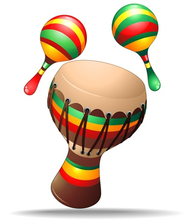 Bongo and Maracas Percussion Instruments Illustration