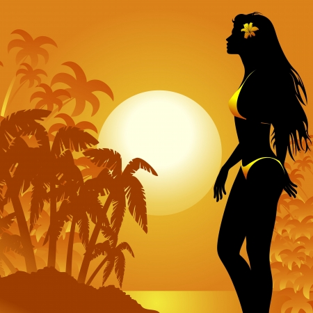 Girl Beauty walking on Tropical Sunset Seascape Stock Vector - 18727321