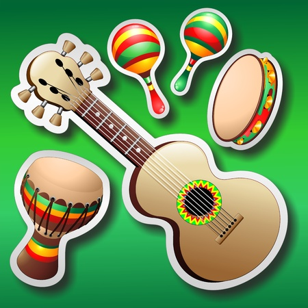 maracas: Guitar Maracas and Bongo Stickers on Green Background Illustration