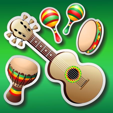 pandero: Maracas y Guitarra Pegatinas Bongo en fondo verde Vectores