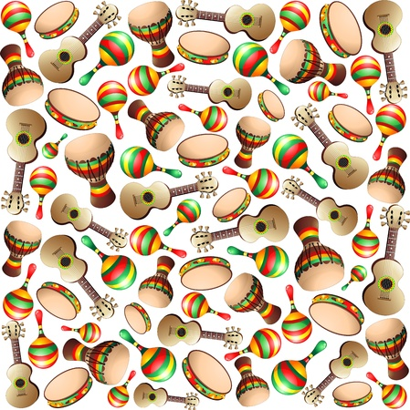 percussionist: Guitar Maracas Bongo Pattern Background Illustration