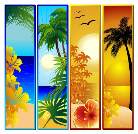 Vertical: Seascape Tropical Sunset y Banners Vectores