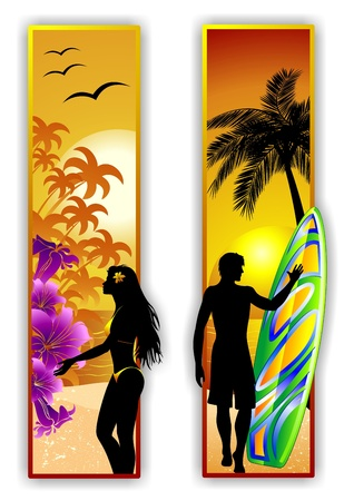 Surfer y Sexy Girl en la playa tropical