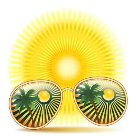 Zonnebril Met Palmboom Reflexion