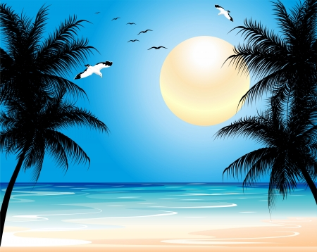 Tropical Exotic Wild Beach Illustration
