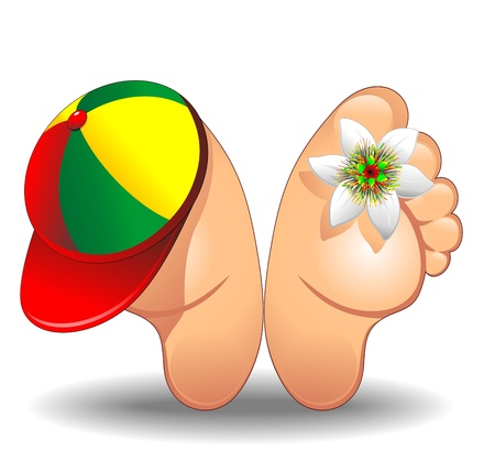 Feet Cartoon with Trucker Hat and Flower