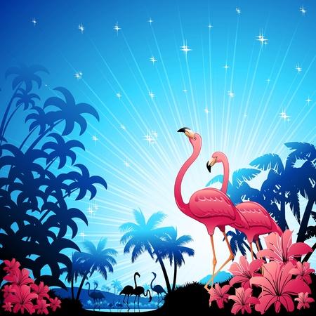 安らぎ: 青い熱帯の風景にピンクのフラミンゴ