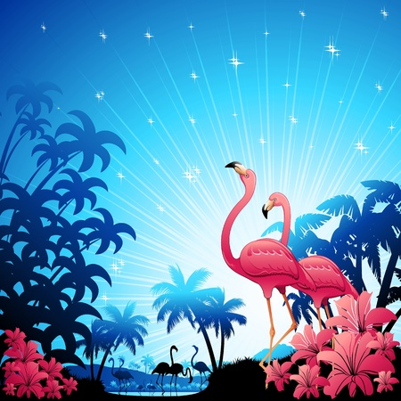 Pink Flamingos on Blue Tropical Landscape