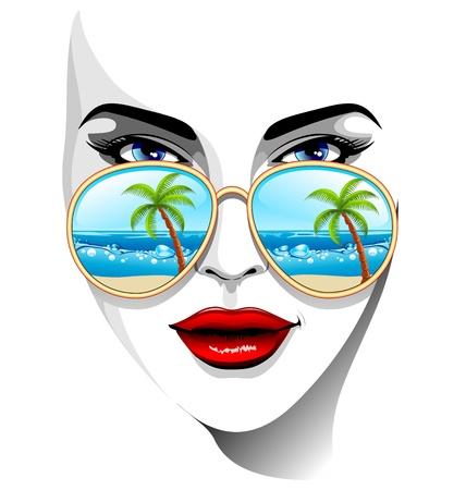 agence de voyage: Fille Portrait avec Tropical Beach Reflexion sur Lunettes de soleil Illustration