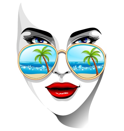 sunglasses reflection: Girl Portrait with Tropical Beach Reflexion on Sunglasses