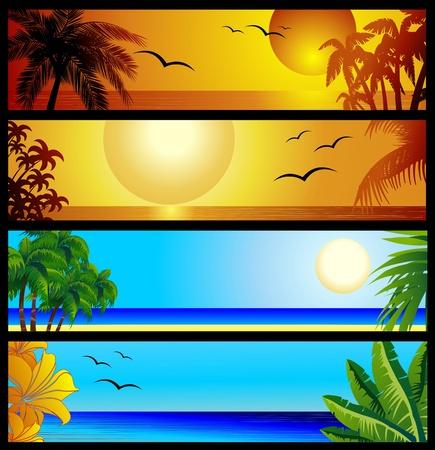 Tropical Seascape and Sunset Banners Ilustração Vetorial