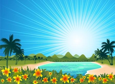 blue lagoon: Exotic Tropical Blue Lagoon