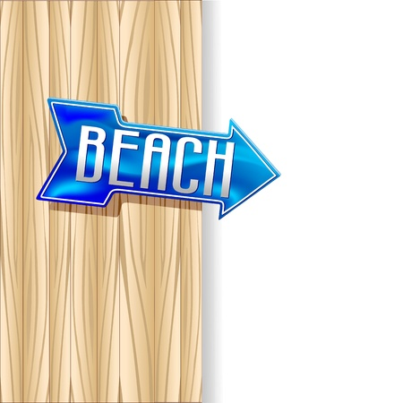 Beach Arrow on Wooden Panel Stock Vector - 19136431