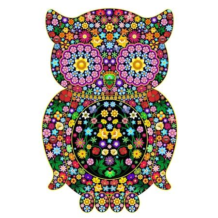 フクロウの花観賞アート デザイン  イラスト・ベクター素材