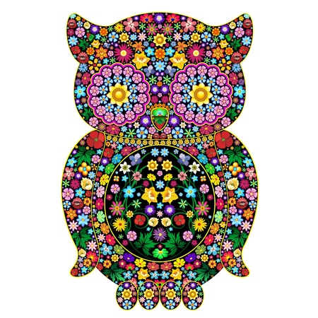Owl Flowers Ornamental Art Design Vector