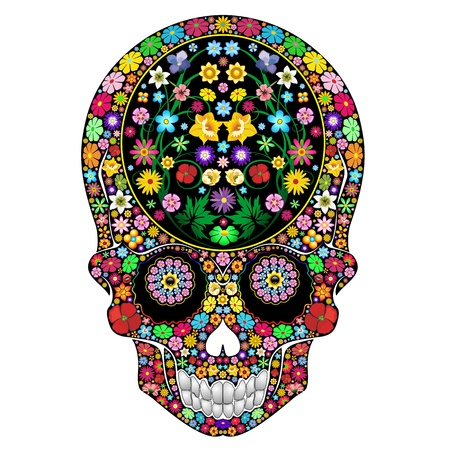 Skull Flowers Ornamental Art Design Vector