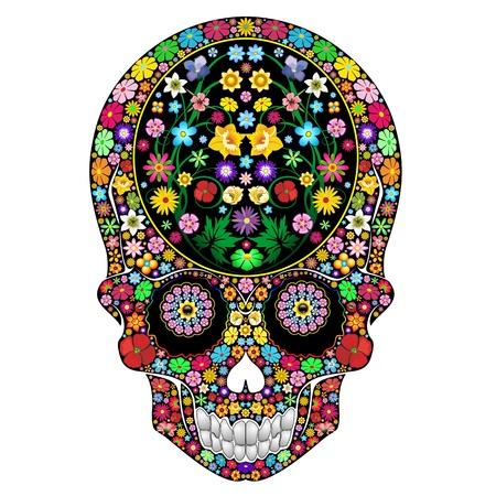 superstition: Skull Flowers Ornamental Art Design