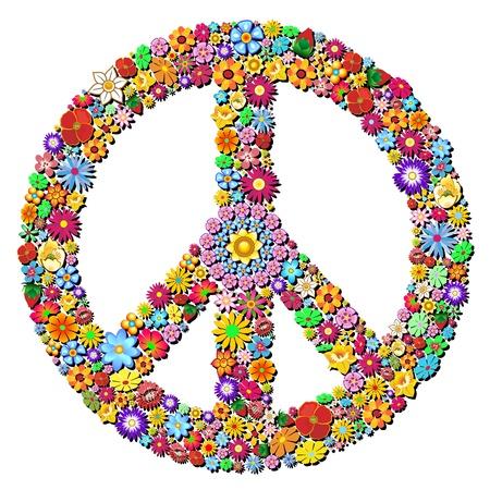平和のシンボルのグルーヴィーな花のデザイン