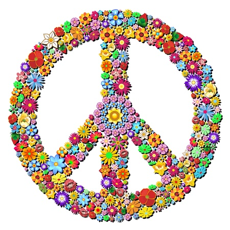 Peace Symbol Groovy Flowers Design Vector