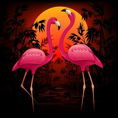 熱帯の静かな夕暮れのピンクのフラミンゴ