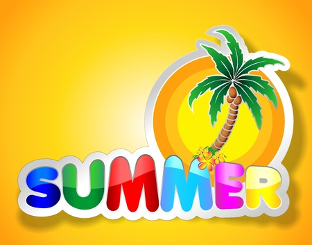 written text: Colorful Summer Sticker Illustration