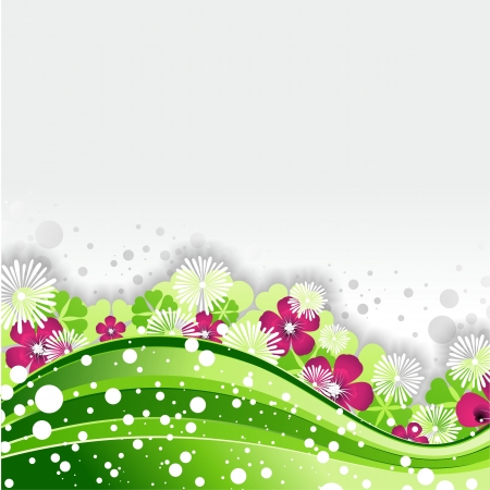 flores fucsia: Green Nature Wave Design Background