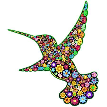 ハチドリ花装飾美術デザイン