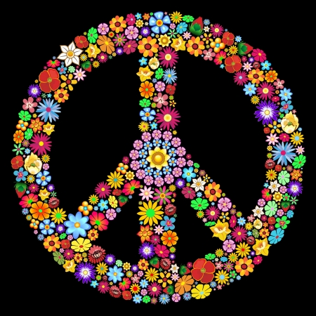 Peace Symbol Groovy Flowers Art Design Иллюстрация