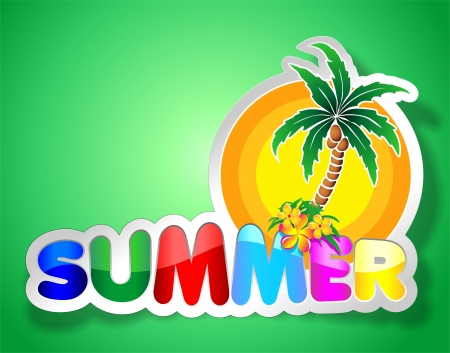 Colorful Summer Sticker with Palmtree on Green Background Vector