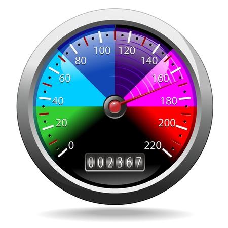 Cuentakilómetros velocímetro Colores del arco iris Foto de archivo - 19457568