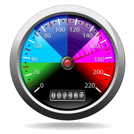 Odometer Speedometer Rainbow Colors Иллюстрация