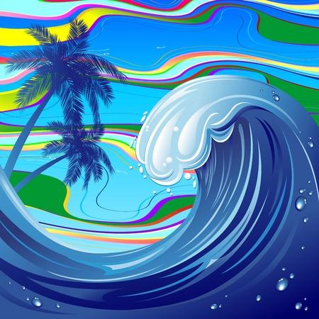 Sea Ocean big Wave Water Illustration