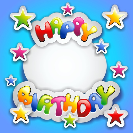 birthday invitation: Happy Birthday Party Colorful Stickers Card