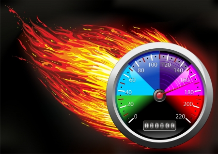 Odometer Speedometer on Fire Vector