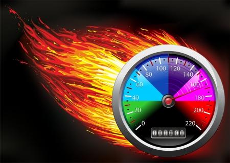 resplandor: Veloc�metro del od�metro en el fuego