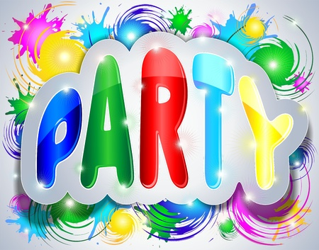 written text: Party Colorful Sticker Text