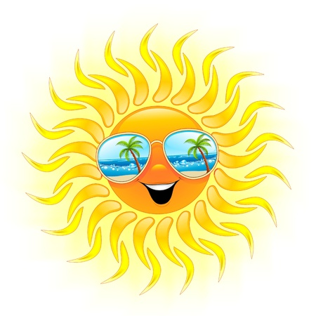 Summer Sun Cartoon with Sunglasses Vector