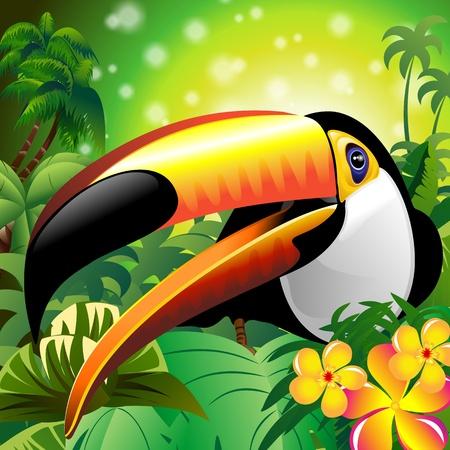Toucan Close Up Art Design on giungla tropicale Vettoriali