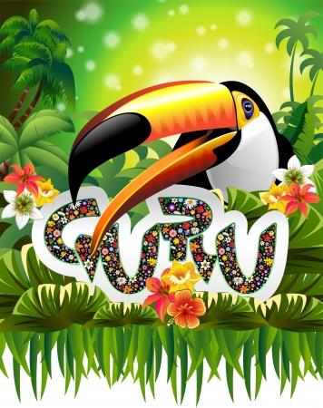 Toucan Guru Floral Art Design on Green Jungle Vector