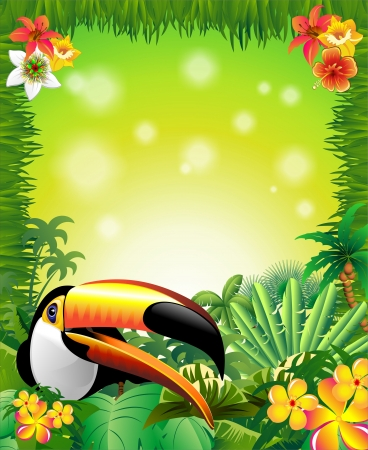 Toucan on Green Wild Jungle Frame Background