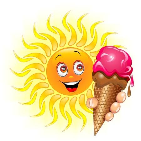 sol caricatura: Sun de la historieta con gran helado Vectores
